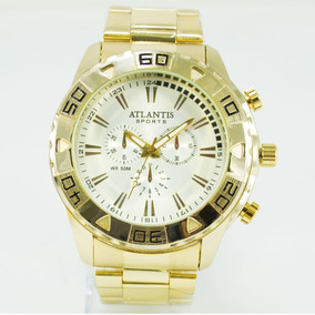 Relógio Dourado Masculino Sports Original Aço Prata Grande