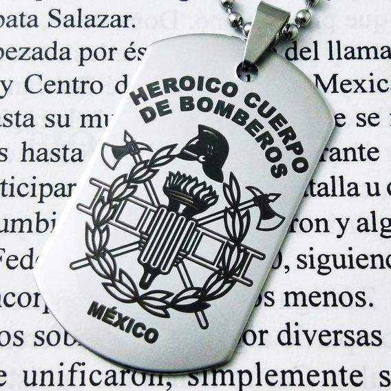 Placa Militar Dije Cadena Llavero Heroico Bombero Bomberos