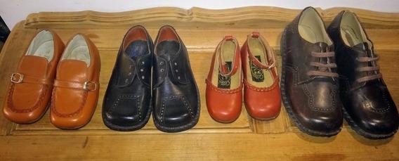 Lote De Zapatos Antiguos Niño Cuero Vintage