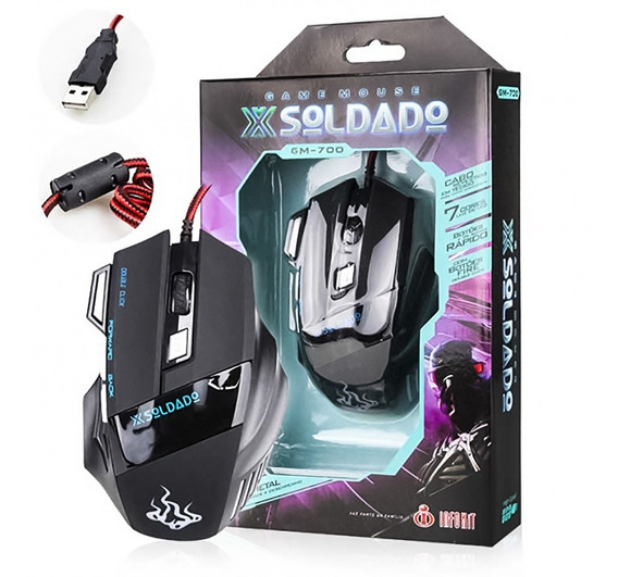Mouse Gamer Usb Led Óptico 3000 Dpi 7 Botões T56 Cs, Lol +nf