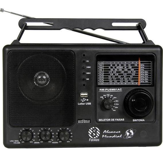 Rádio Motobras Rm-pusm81ac - Fm/om 8 Faixas Usb Bivolt