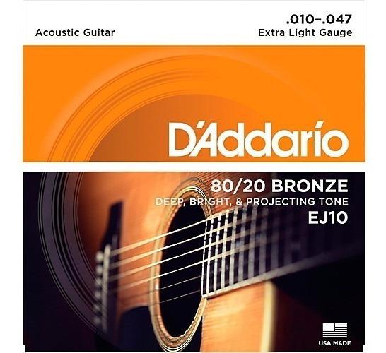 Cuerdas Daddario Guitarra Acustica Ej10 10-47 Envio Inmedia+