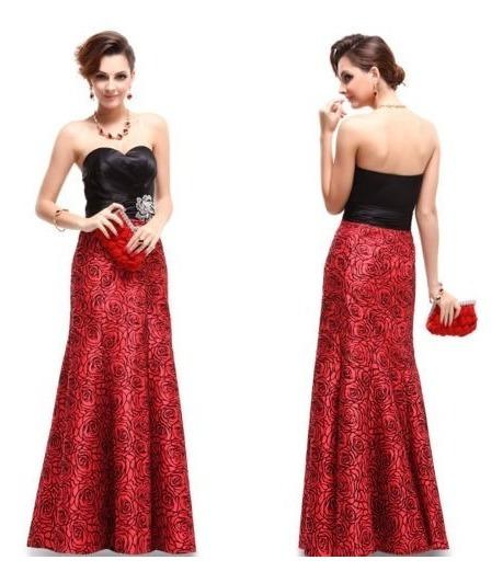 Vestido Festa Formatura Longo Preto Vermelho Ever Pretty Lux