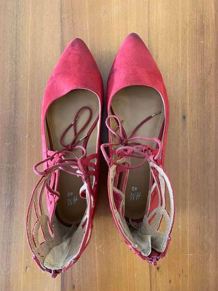 Sandalias De Mujer. Gamuza Roja. Impecables