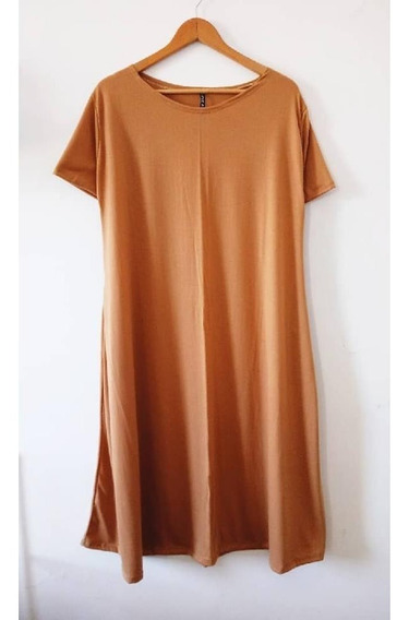 Vestido Largos Con Bolsillos Camel