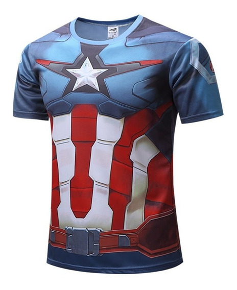 Camisa Camiseta Masculina Colorida Modelo Capitão America