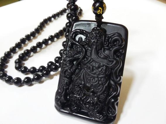 Colar Comprido Em Pedra Obsidiana Negra Samurai Ou Buda Fort
