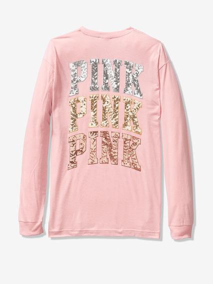Remera Rosa Lentejuelas Pink Xs S M Victoria