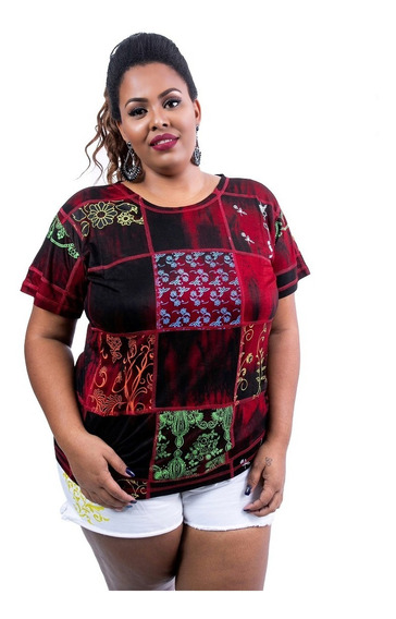 Camiseta Baby Look Plus Size Patchwork Tie Dye De Viscose