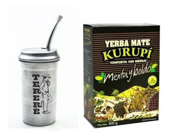 Erva Tereré Kurupi Original Cuia Térmica Alumínio Bomba