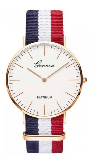 Relógio Geneva Platinum Navy Pulseira De Lona