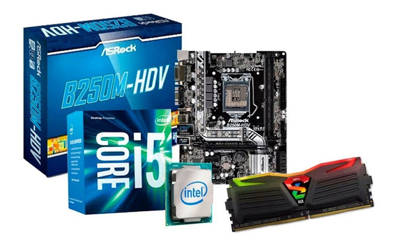 Kit Upgrade I5 7400, Placa Asrock B250, 8gb Ddr4 Led + Nfe