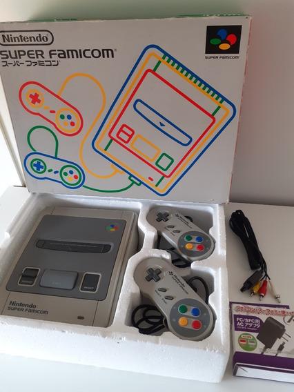 Super Famicom Nintendo Snes Na Caixa 2 Controles + 2 Games