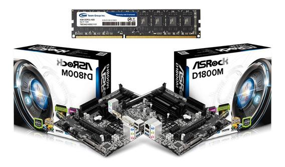 Combo Tarjeta Madre Asrock D1800m + Procesador + Ram 4gb