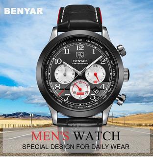 Reloj Hombre Deportivo Benyar 5107 Cuero Caja P/regalo