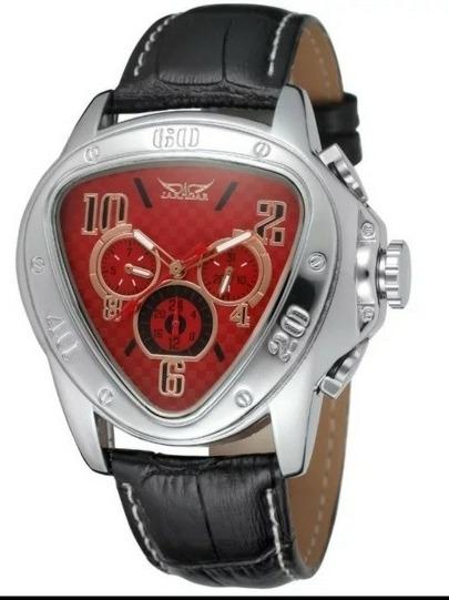 Relógio Jaragar Sport Pulseira De Couro Genuíno Automático E