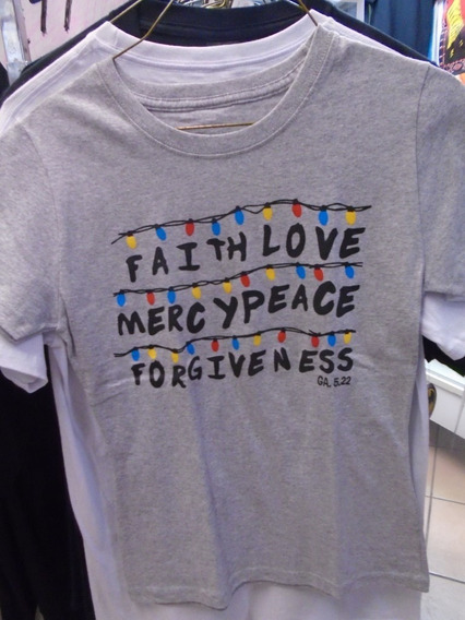 Blusa Cristiana Faith Love Mercy