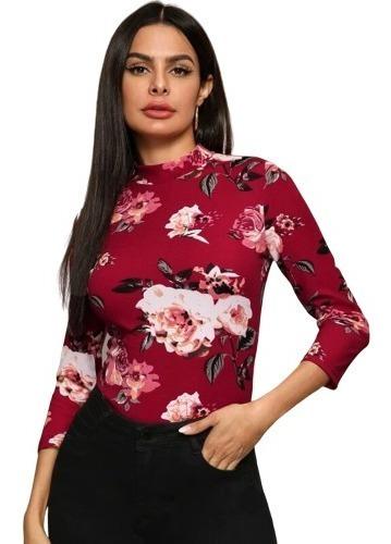 Blusa De Dama Casual De Cuello Japonés Con Estampado Floral