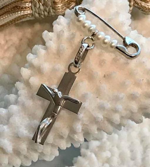 Cristo Con Broche Perlas Oro Blanco 14 K Cr14be2a2