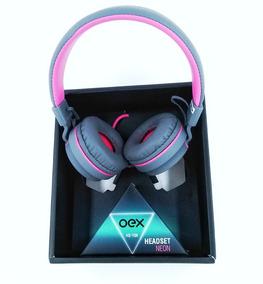 Fone De Ouvido Headset Neon Oex Hs106 Rosa