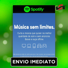 Spotify Premium Cartão Gift Card Key Presente 3 Meses Serial