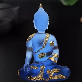 Buda Decoración En Resina Pura Azul Transparencia 1pz