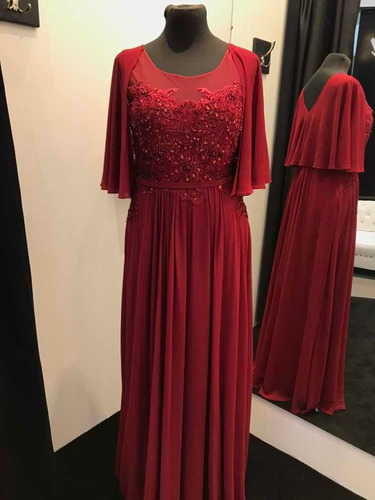 Vestido De Fiesta Rojo Borgoña Kayarall Alta Costura