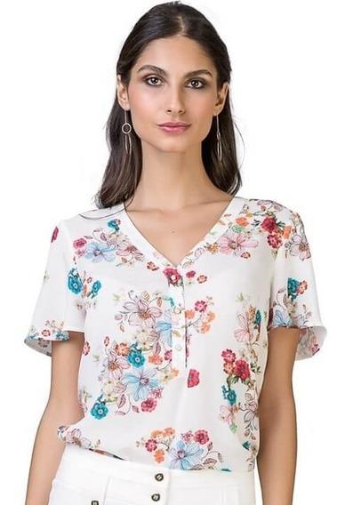Camisa Feminina Manga Curta Em Viscose Estampada Floral Seik