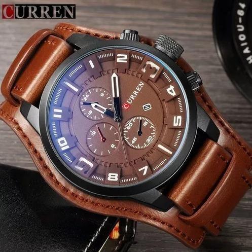 Relógio Curren Masculino 8225 Couro Marrom (cor Uníca)