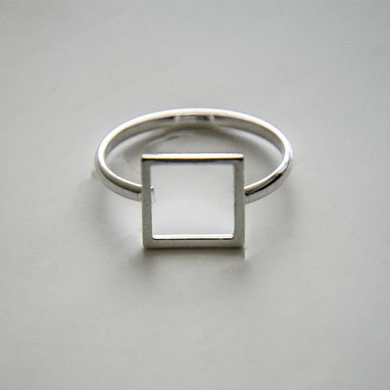 Anel Quadrado Prata 950 Geométrico Vazado