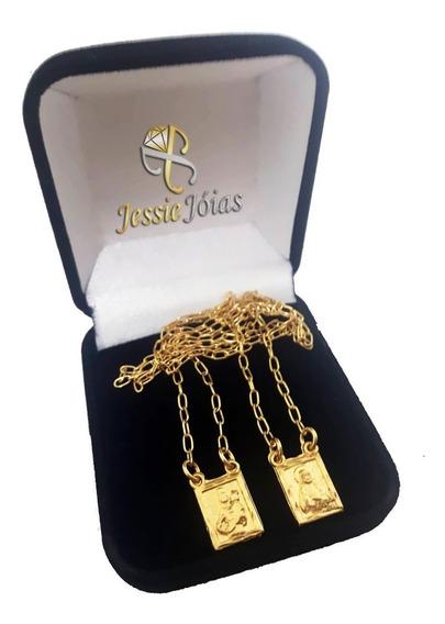 Escapulário Folheado Ouro 18k Nossa S Carmo Sagrado C Jesus