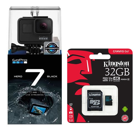 Câmera Gopro Hero 7 Black 12mp 4k + Cartão 32gb Kingston