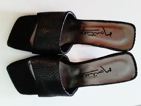 Sandalias De Fiesta Cuero Teñido En Negro