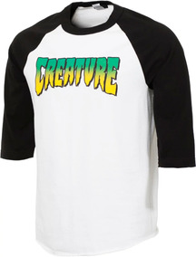 Playera Creature Logo Raglan 3/4 Sleeve Black/wht
