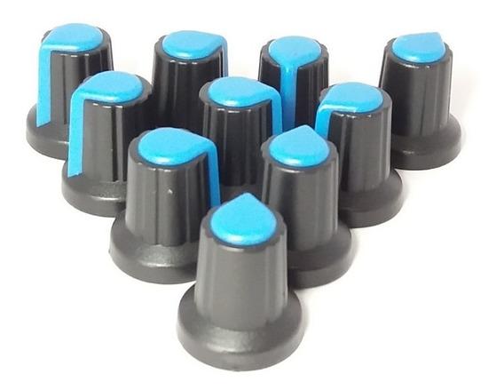 Knob 6mm Para Potenciômetro Estriado Preto+azul - 100 Pçs