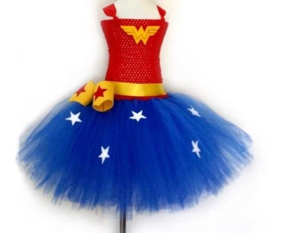 Tutu Dress Vestido Mujer Maravilla Tallas 1 A 6 Años