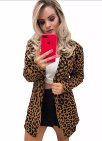 Maxi Cardigan Feminino Animal Print Casaco Onça Inverno 2019