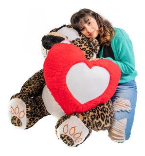Tigre Leopardo De Peluche 1.3m Gigante C/corazon Personaliz.