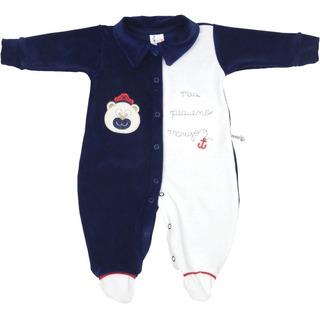 Roupa Bebê Menino Macaquinho Longo Plush Com Gola E Bordado