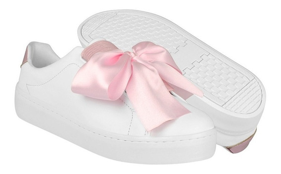 Tenis Casuales Stylo Para Mujer Simipiel Blanco Rosa 9755
