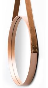 Espelho Adnet Couro Natural 35cm