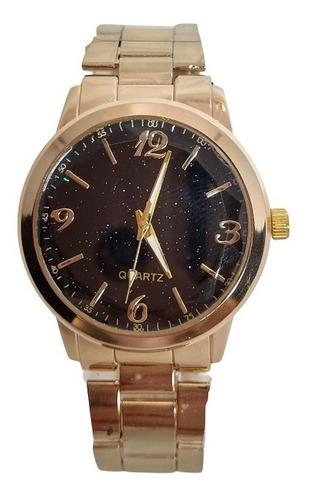 Relógio Dourado Brilhante Feminino Luxo Elegante Blogueiras