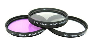 Kit 3 Filtros Uv Cpl Fld 55mm Para Sony Canon Nikon
