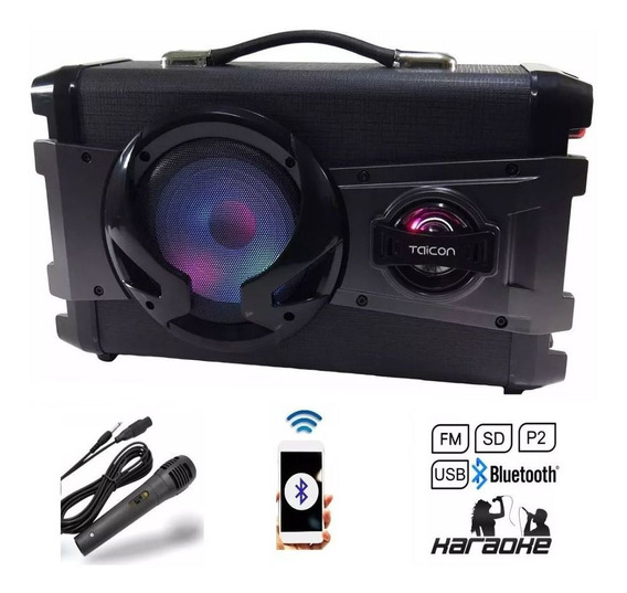 Caixa De Som Bluetooth Karaokê 50w Amplificada Usb Mixer