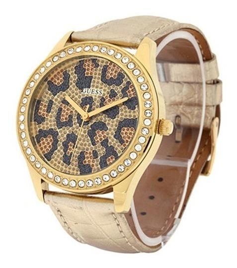 Relógio Guess Feminino Original Dourado Onça Pulseira Couro