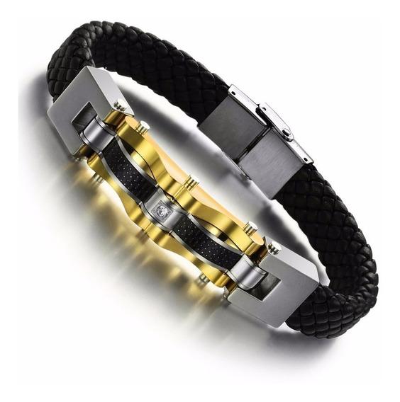 Bracelete Pulseira Masculina Couro Trancado Aco Inoxidavel