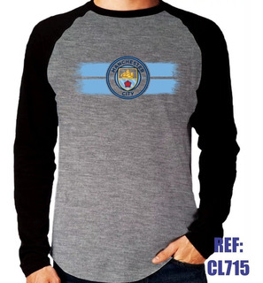 Camisa Raglan Manga Longa Manchester City Futebol Mescla
