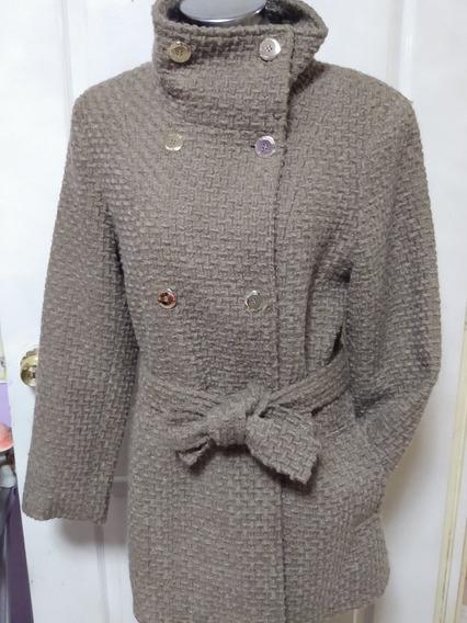 Abrigo Para Dama Calvin Klein Color Marrón Claro, De Lana