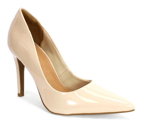 Sapato Feminino Scarpin Verniz Bebecê Nude