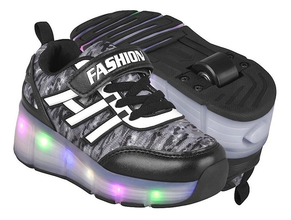 Tenis Casuales Para Niño Led And Wheels Hg8086 Ngo Gris